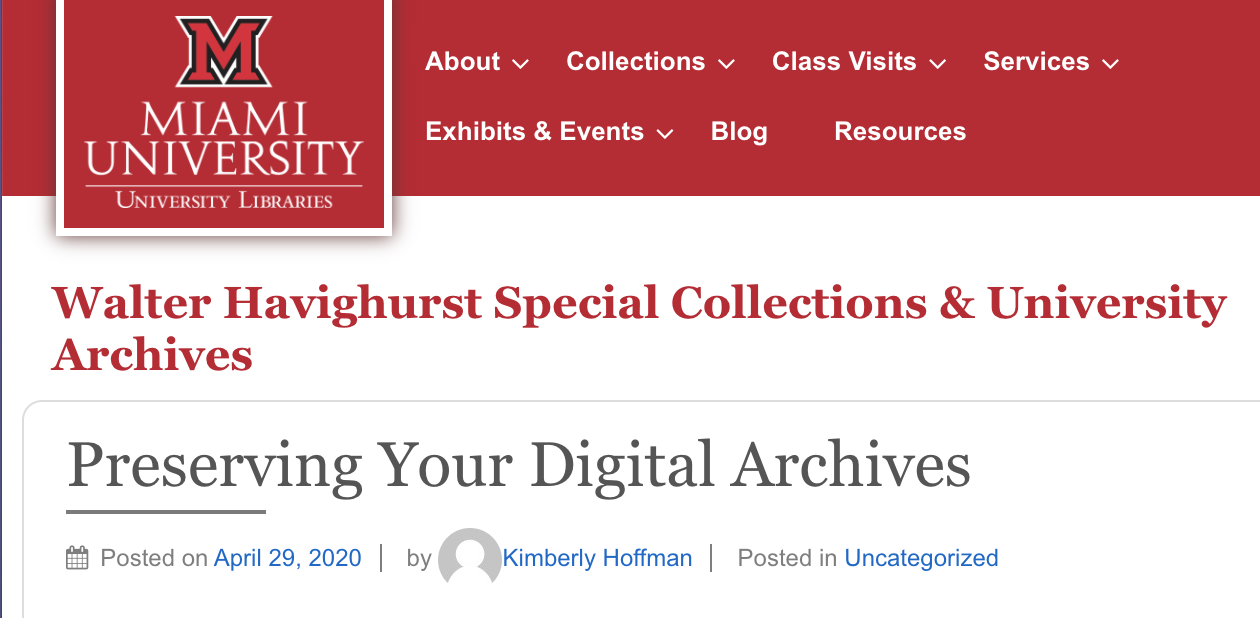 screenshot of Preservering Your Digital Archives website