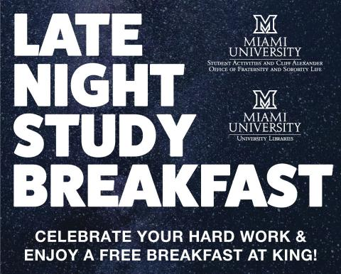 Celebrate your hard work and enjoy a free breakfast at King Library