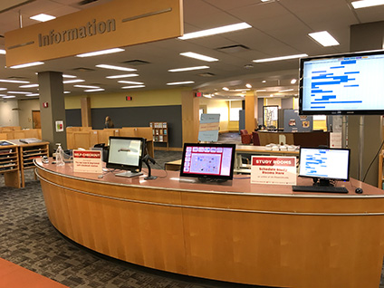 Information desk on the first floor of King Library