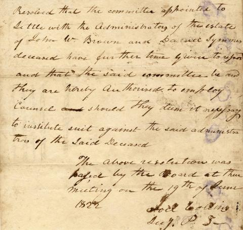 Resolution by Miami University Board of Trustees, regarding John Browne estate report, June 19, 1822