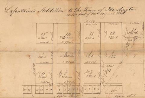 Plat map of Lafontaine's Addition to Huntington, Indiana 1846