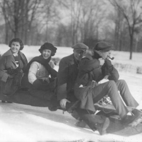 Photo of Miamians sledding down hill in 1922