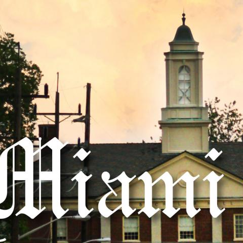 Miami Student newspaper masthead with Bachelor Hall in background