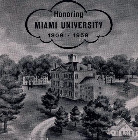 Booklet cover Honoring Miami University 1809-1959